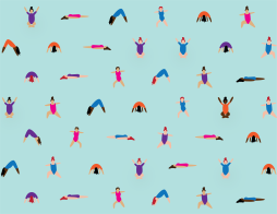 Illustrated yogi pattern in sea glass colorway