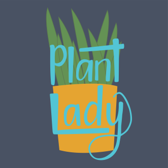 Plant lady handlettering and illustration in teal with navy background