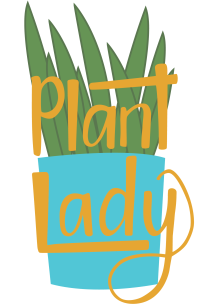 Plant lady handlettering and illustration in mustard
