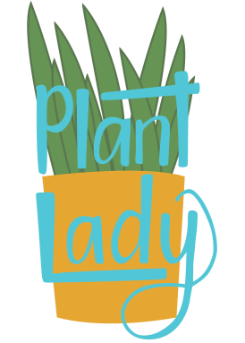 Plant lady handlettering and illustration in teal