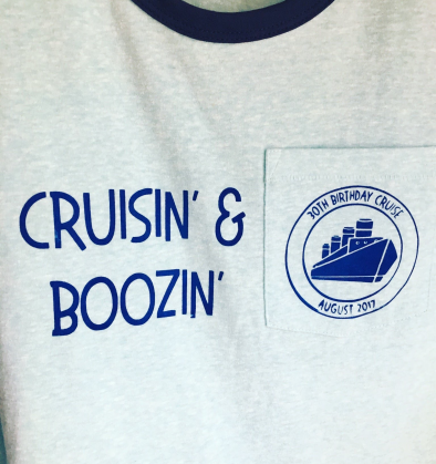 Screenprinting project for a 30th birthday cruise