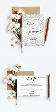 Woodsy wedding invitation design