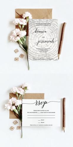 Woodsy wedding invitation design