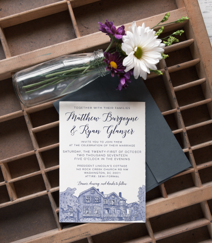 Wedding invitation design and Lincoln's cottage illustration