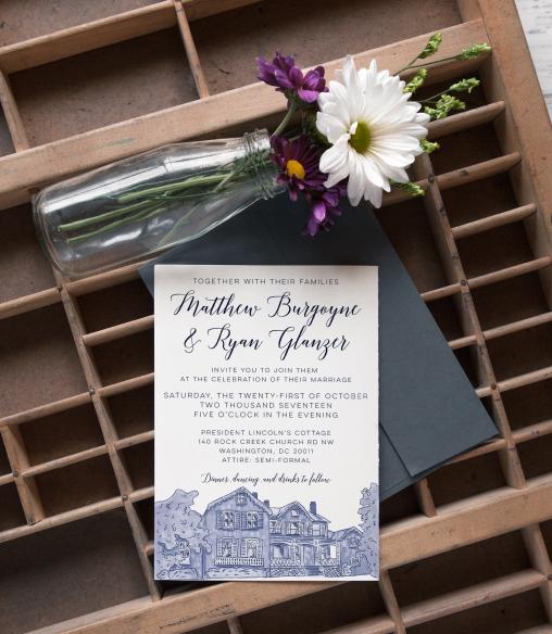 Wedding invitation design and Lincoln's cottage illustration