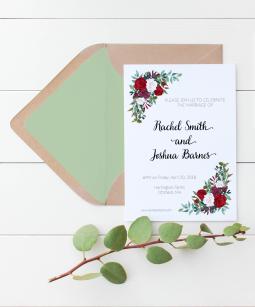 Rose corner bouquet wedding invitation