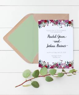 Rose border wedding invitation