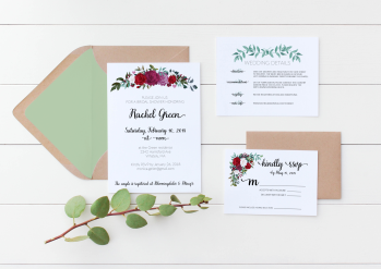 Rose bouquet wedding invitation suite